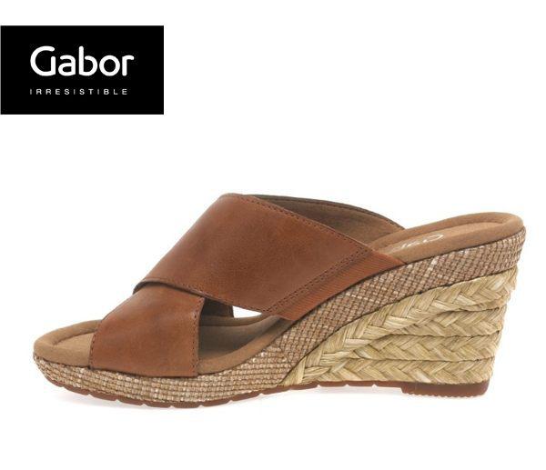 Gabor 皮革交叉帶楔型涼鞋 3