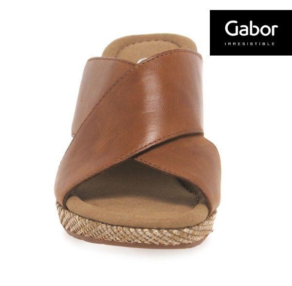Gabor 皮革交叉帶楔型涼鞋 4