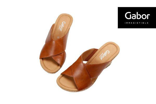 Gabor 皮革交叉帶楔型涼鞋 5