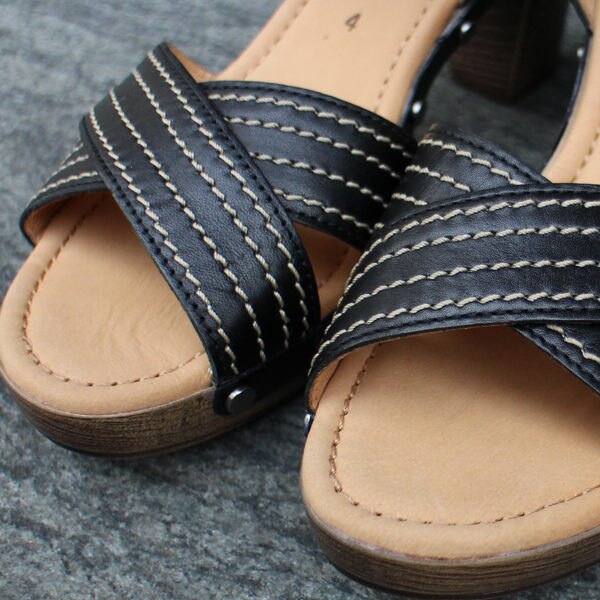 Gabor 真皮交叉線條原木底涼鞋 3