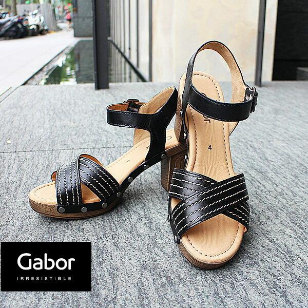 Gabor 真皮交叉線條原木底涼鞋 5