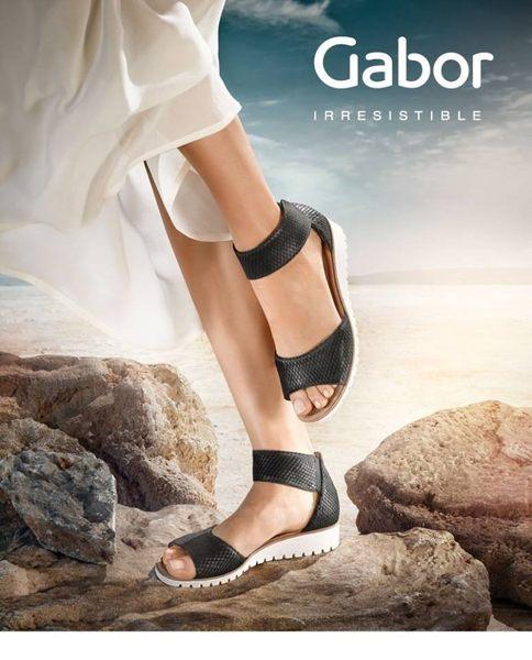 Gabor 真皮亮黑金蔥繞踝魔鬼氈涼鞋 4