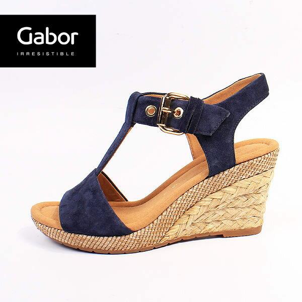 Gabor 修身輕躍 時尚金屬扣飾楔型涼鞋 深靛藍 0