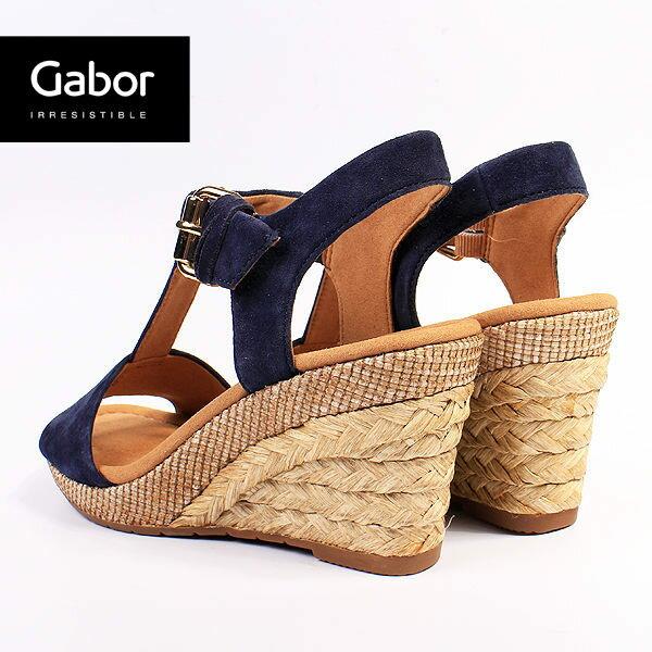 Gabor 修身輕躍 時尚金屬扣飾楔型涼鞋 深靛藍 1