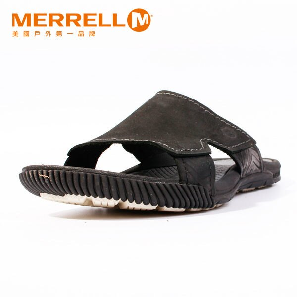 MERRELL 皮革休閒涼鞋 男 黑 0