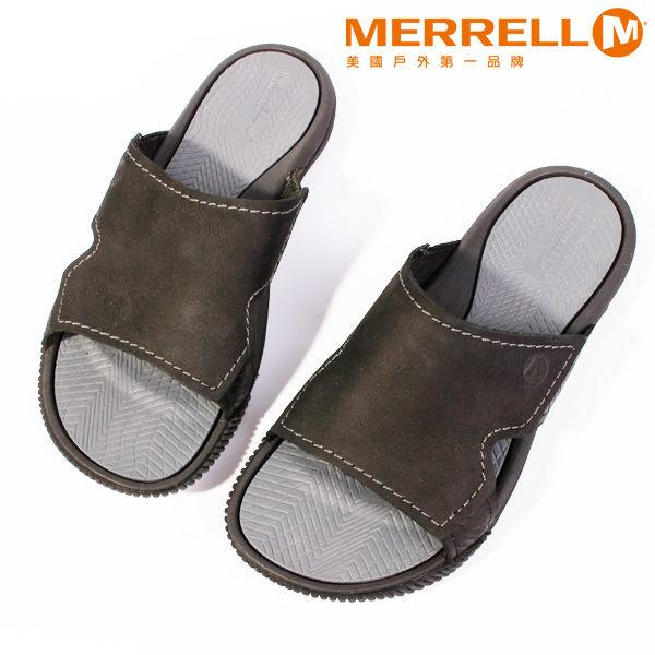 MERRELL 皮革休閒涼鞋 男 黑 4