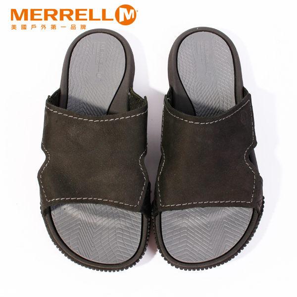 MERRELL 皮革休閒涼鞋 男 黑 5