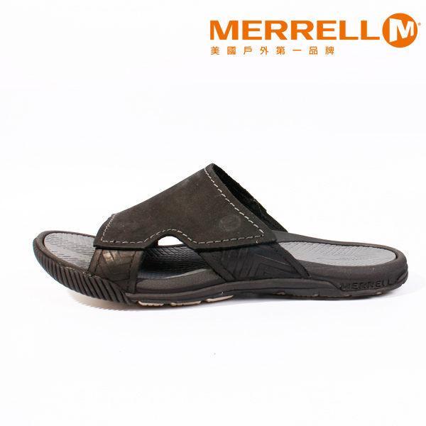 MERRELL 皮革休閒涼鞋 男 黑 6