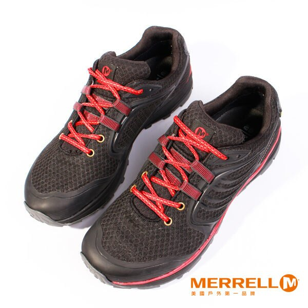 Merrell 戶外健行系列綁帶休閒鞋 黑紅 女 7