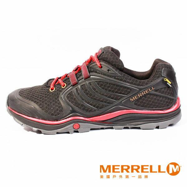 Merrell 戶外健行系列綁帶休閒鞋 黑紅 女 8