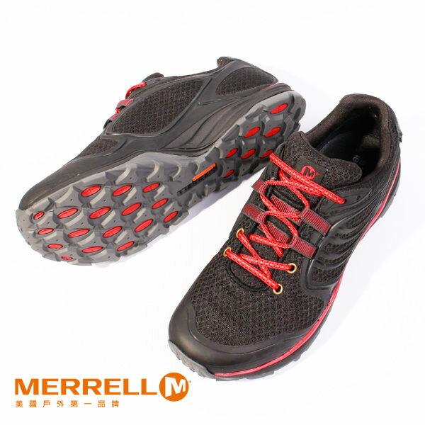 Merrell 戶外健行系列綁帶休閒鞋 黑紅 女 9