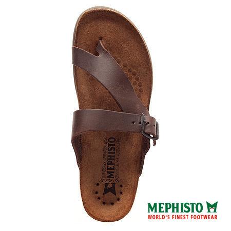 Mephisto 斜帶環扣式類勃肯涼拖鞋 咖啡 4