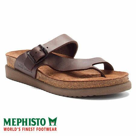 Mephisto 斜帶環扣式類勃肯涼拖鞋 咖啡 0