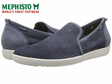 Mephisto 洞洞透氣皮革休閒懶人鞋 藍 0