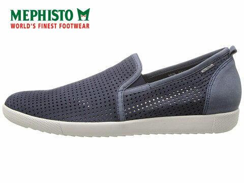 Mephisto 洞洞透氣皮革休閒懶人鞋 藍 3