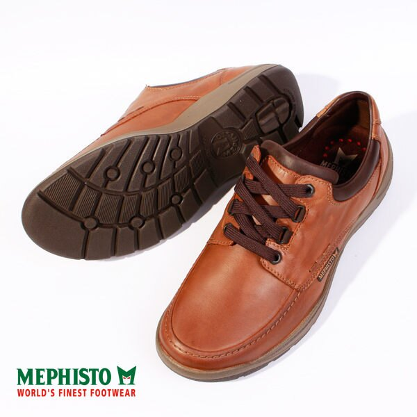 Mephisto 皮革綁帶休閒鞋 咖 男 4