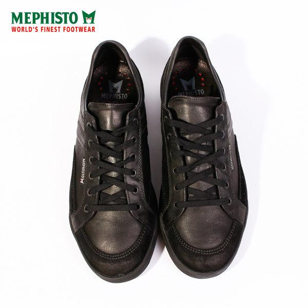 Mephisto 皮革綁帶休閒鞋 男 黑 2