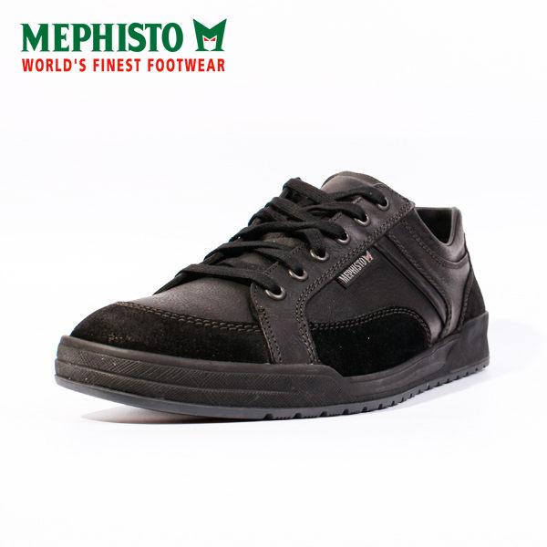 Mephisto 皮革綁帶休閒鞋 男 黑 1