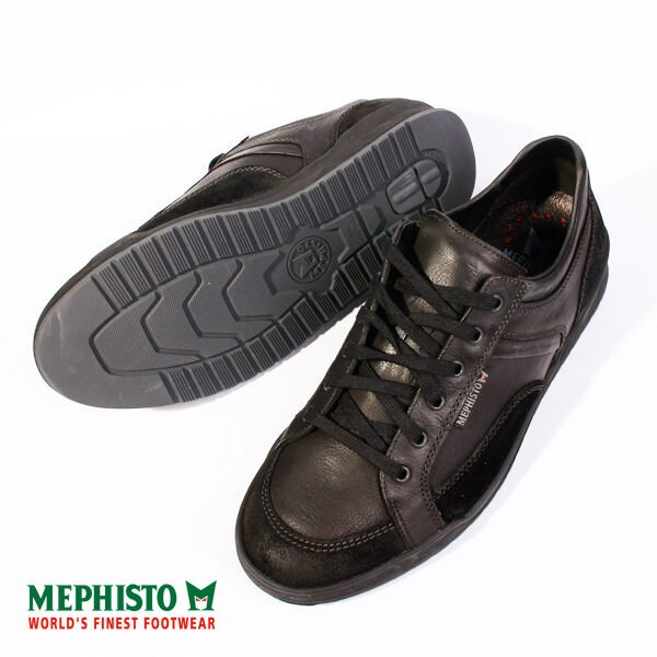 Mephisto 皮革綁帶休閒鞋 男 黑 3