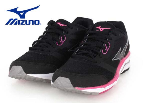 Mizuno wave系列女慢跑鞋 黑粉 1