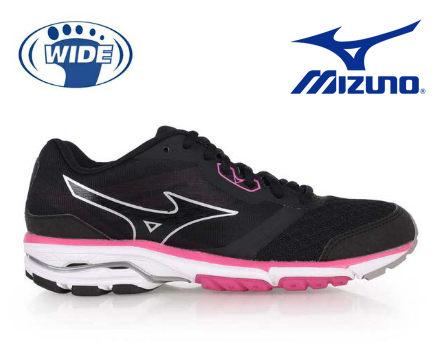 Mizuno wave系列女慢跑鞋 黑粉 0