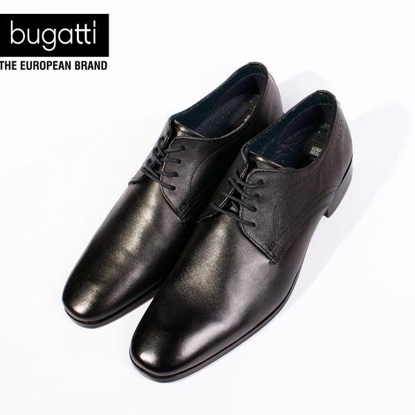 Bugatti 德國工藝綁帶防潑水皮鞋黑 男 3