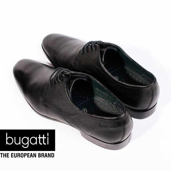 Bugatti 德國工藝綁帶防潑水皮鞋黑 男 4