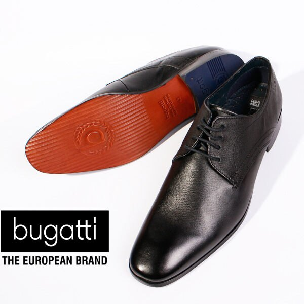 Bugatti 德國工藝綁帶防潑水皮鞋黑 男 5