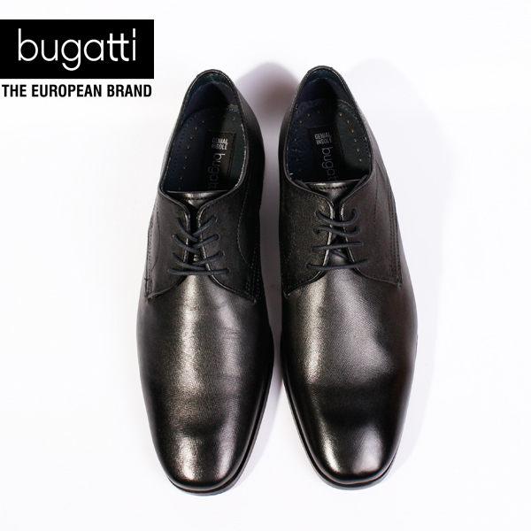 Bugatti 德國工藝綁帶防潑水皮鞋黑 男 2