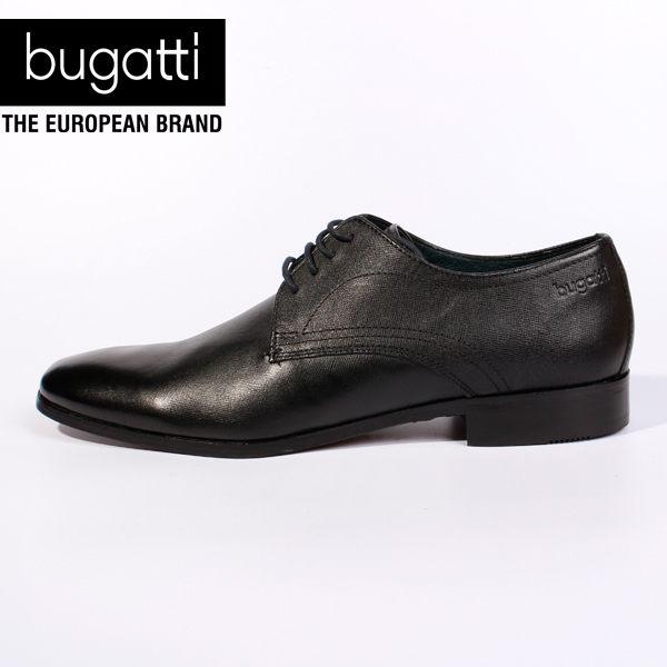 Bugatti 德國工藝綁帶防潑水皮鞋黑 男 0