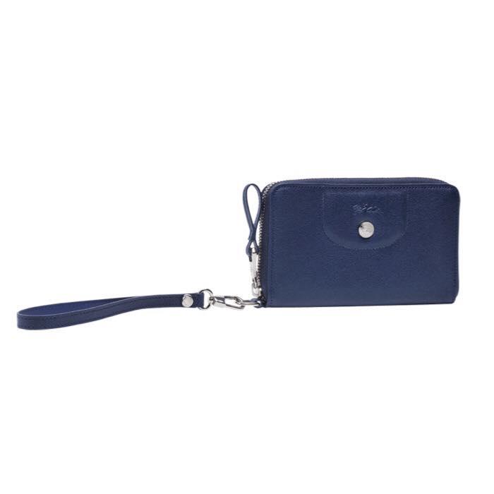 【LONGCHAMP】 Le Pliage Cuir系列小羊皮手拿/零錢包(深藍) 1