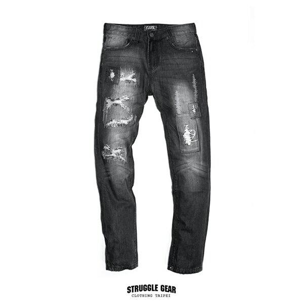 【StruggleGear】刀割破壞補丁牛仔褲「黑色」99220