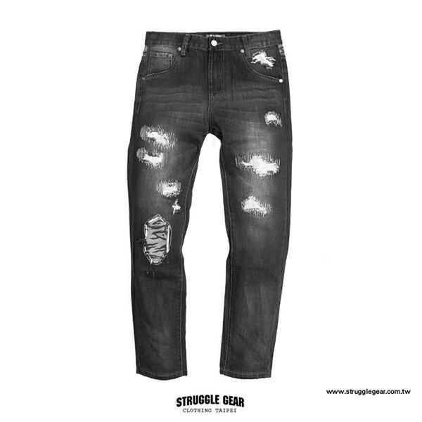 【StruggleGear】破壞迷彩補丁牛仔褲「黑色」99221