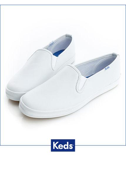 Keds 經典升級皮質休閒便鞋-白 0