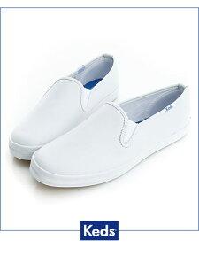 Keds 經典升級皮質休閒便鞋-白