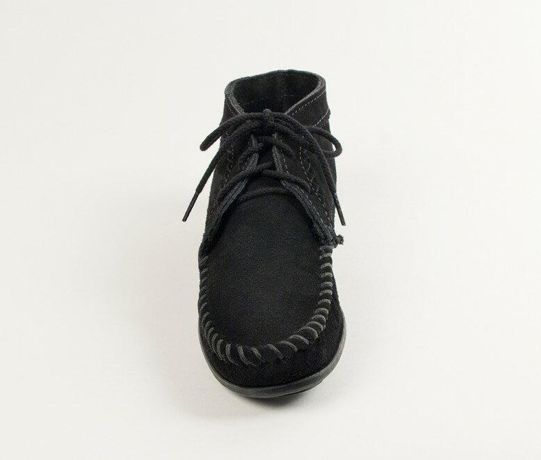 【Minnetonka 莫卡辛】黑色 - 印地安手工麂皮踝靴 3