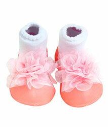 【本月特價$599】韓國【Attipas】快樂腳襪型學步鞋-胸花粉紅 0