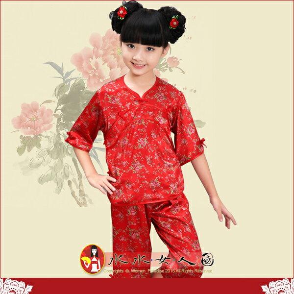 【水水女人國】~*精選優質 超口愛Q版童裝中國風~紅花。小女生彈力絲印花小鳳仙唐裝兩件式套裝
