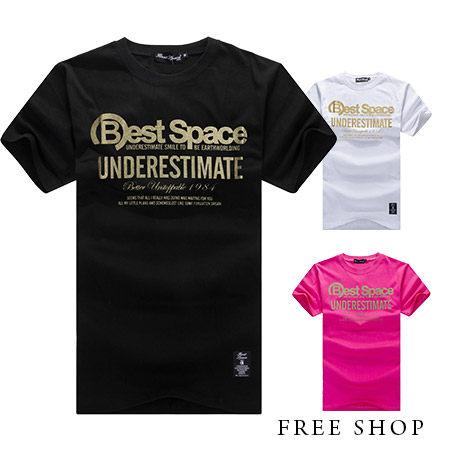 Free Shop~QJFJ5479~美式休閒燙金字母印花撞色圓領棉質短T短袖上衣潮T‧三