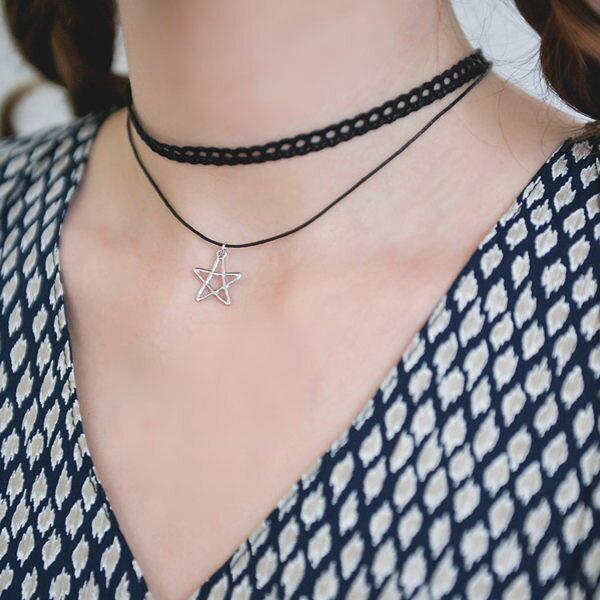 PS Mall 復古黑色蕾絲超短頸鍊 五角星星雙層鎖骨鍊項鍊 ~G1808~ ~  好康折