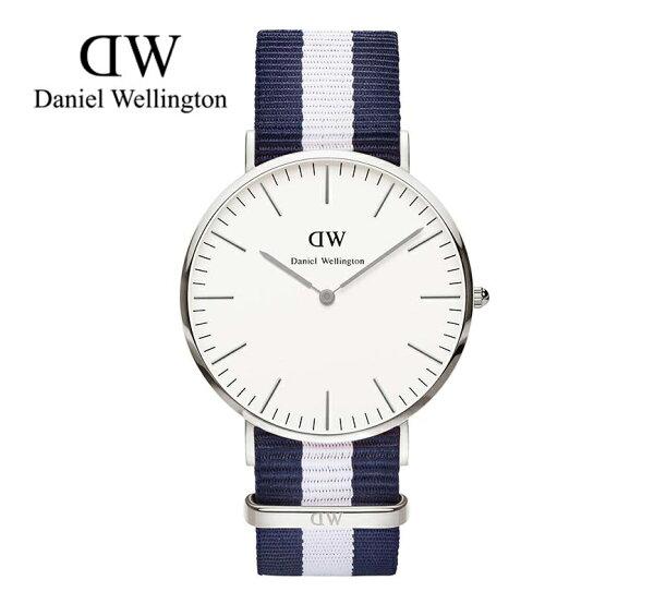瑞典正品代購 Daniel Wellington 0204DW 銀 尼龍 帆布錶帶 男錶 手錶腕錶 40MM