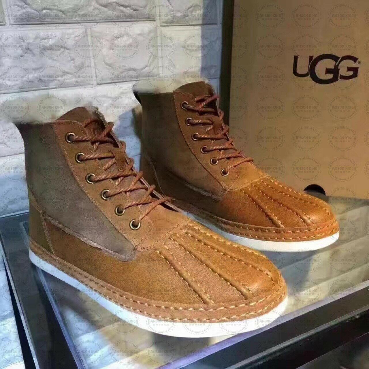 OUTLET正品代購 澳洲 UGG 冬季男款貝殼頭馬丁靴 短靴 保暖 真皮羊皮毛 雪靴 短靴 栗色 0