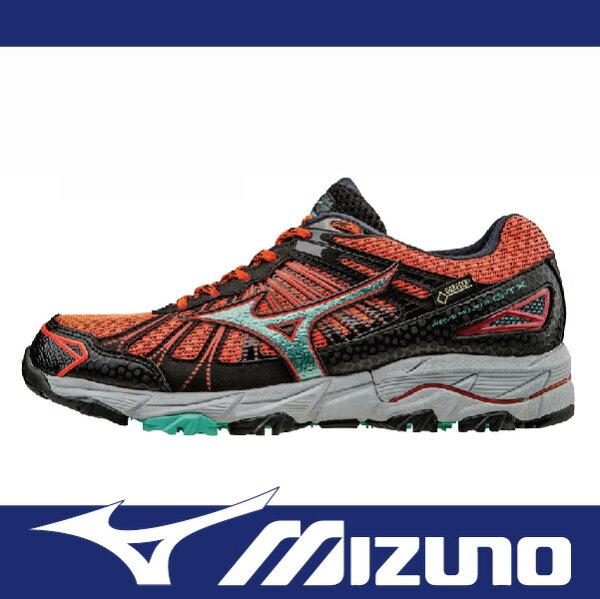 萬特戶外運動 MIZUNO J1GK165734 女慢跑鞋 WAVE MUJIN 3 GORE-TEX 防水 米其林輪胎大底 越野跑鞋 亮桔+黑色