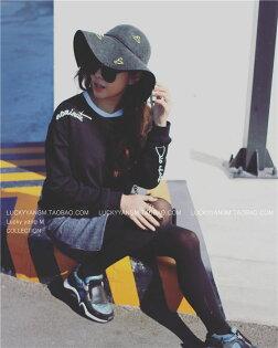Lucky洋M  原創女裝設計師品牌 流線字體基本款長袖純色黑T恤-Lucky洋M
