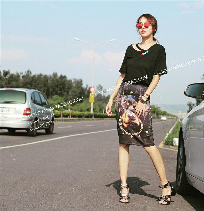 零碼 ^(S^~M^) 打版 歐洲知名大牌 狗頭裙 包臀顯瘦半身裙職業OL中長款 ~  好