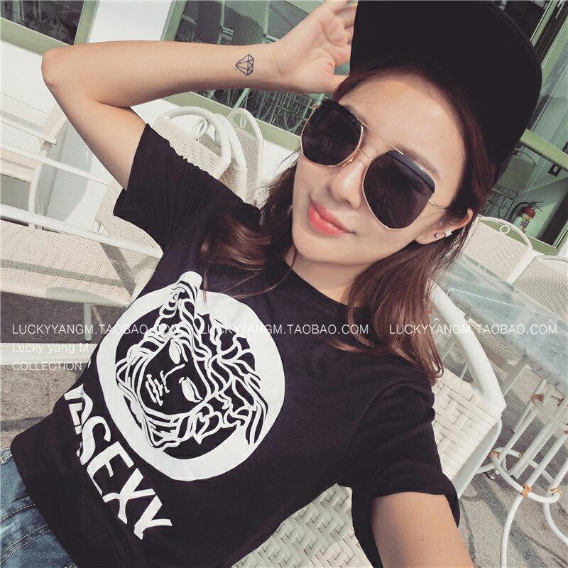 歐洲KUSO 大牌同款 純棉簡約寬鬆潮牌 短袖 黑T恤 ~  好康折扣