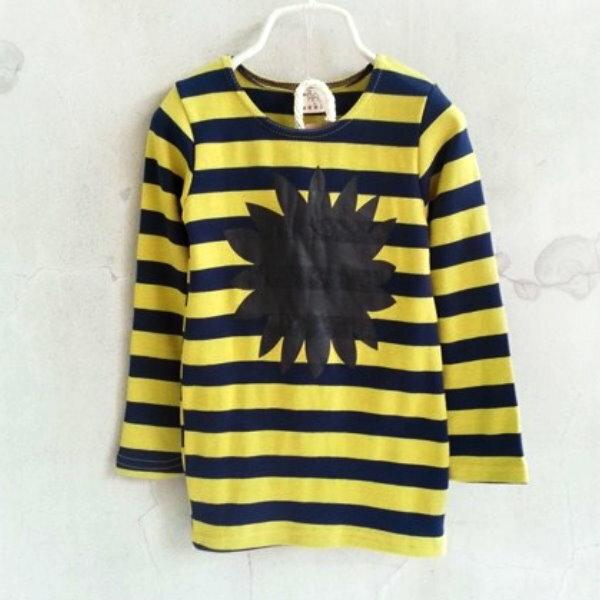 【班比納精品童裝】前黑色花橫條紋洋裝長版T-藍黃【BO150303018】