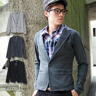 Free Shop【QG2038】都會時尚質感slim窄身剪裁細緻棉質素面西裝外套.三色 現+預