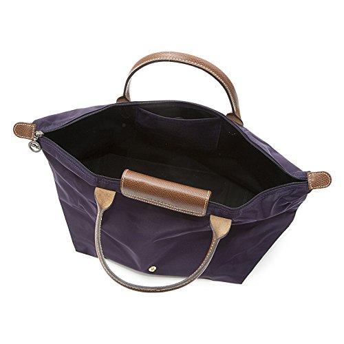 [1623-M號] 國外Outlet代購正品 法國巴黎 Longchamp 短柄 購物袋防水尼龍手提肩背水餃包 深紫色 2