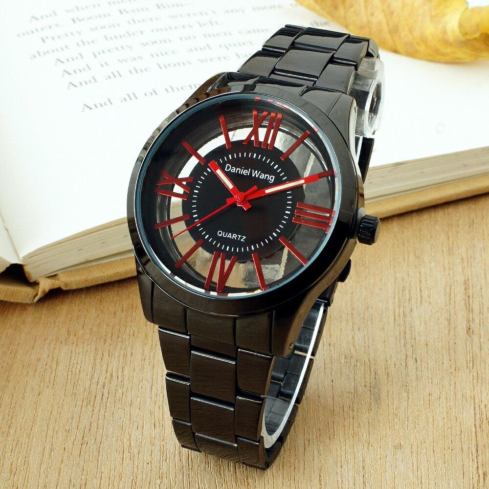 Daniel Wang 2202-IP 激似CK風格炫彩鏤空羅馬數字鐵帶錶 4